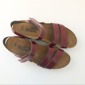 Red patent Naot Sandles